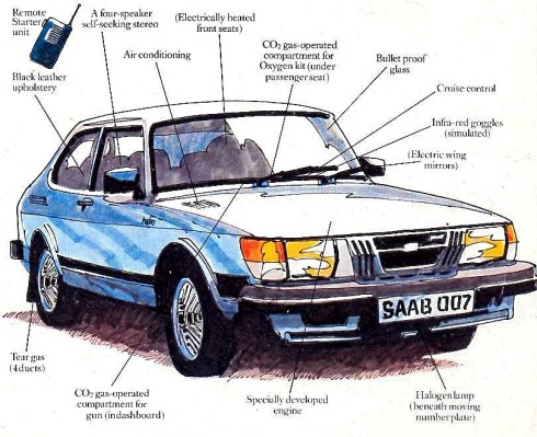 """Silver Beast"".007's SAAB 900 Turbo which featured in John Gardner's debut 1981 Bond novel ""Licence Renewed"""