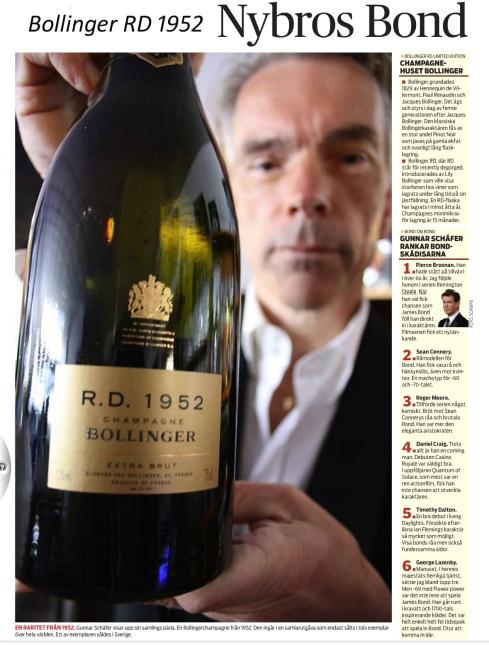 James Bond Nybro Champagne Bollinger RD 1952