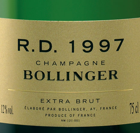 Champagne Bollinger R.D. 1997 for Bond 23 SKYFALL