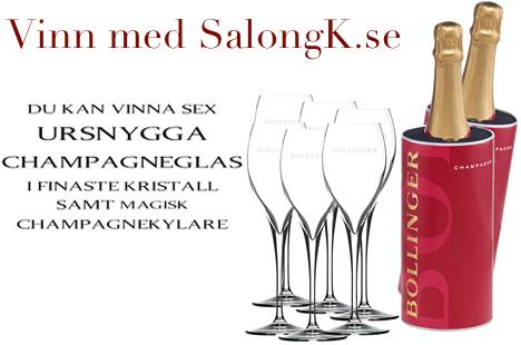 SalongK.se lottar ut exklusiva kristallglas och champagnekylare från Bollinger – James Bonds favoritchampagne!