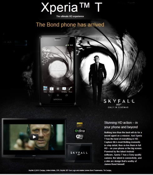James Bond issued with Xperia™ T Smartphone from Sony