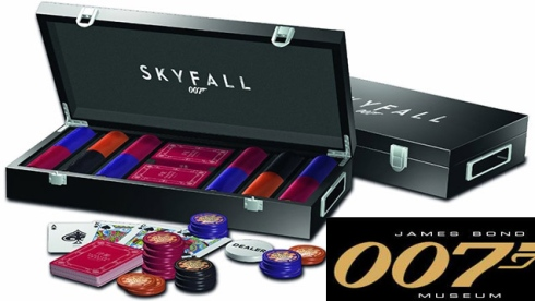 James Bond - Skyfall Poker Cards and Chip Set 300 professional quality Floating Dragon Macau poker chips and one deck of cards, as seen in the film SkyFall
