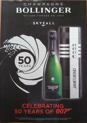 Advertising poster from BOLLINGER Champagne for the release of SKYFALL 2012