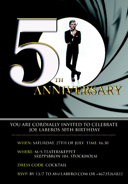 50 års kalas inbjudan 50 års Bondfest hos Magikern Mr. Joe Labero. Mr. James Bond från  50 års kalas inbjudan