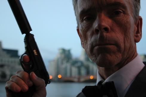James Bond in London at the  MI6 Headquarters, Vauxhall Cross, London, UK