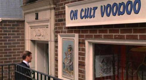 'Oh Cult Voodoo Shop' on 33 East 65th Street at 5th Avenue which is first seen after 18 minutes. . A couple of minutes later Bond is seen hailing a yellow cab outside the store and tails a lead in typical follow-that-car movie fashion to
